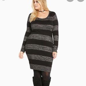 Torrid Lurex Black & Silver Striped Sweater Dress